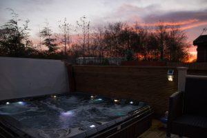 Retreat Hot Tub at dusk